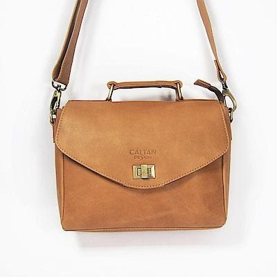 CALTAN-斜背包 手提包 兩用包 復古旋轉釦 女包 包包 旅行-5221ht