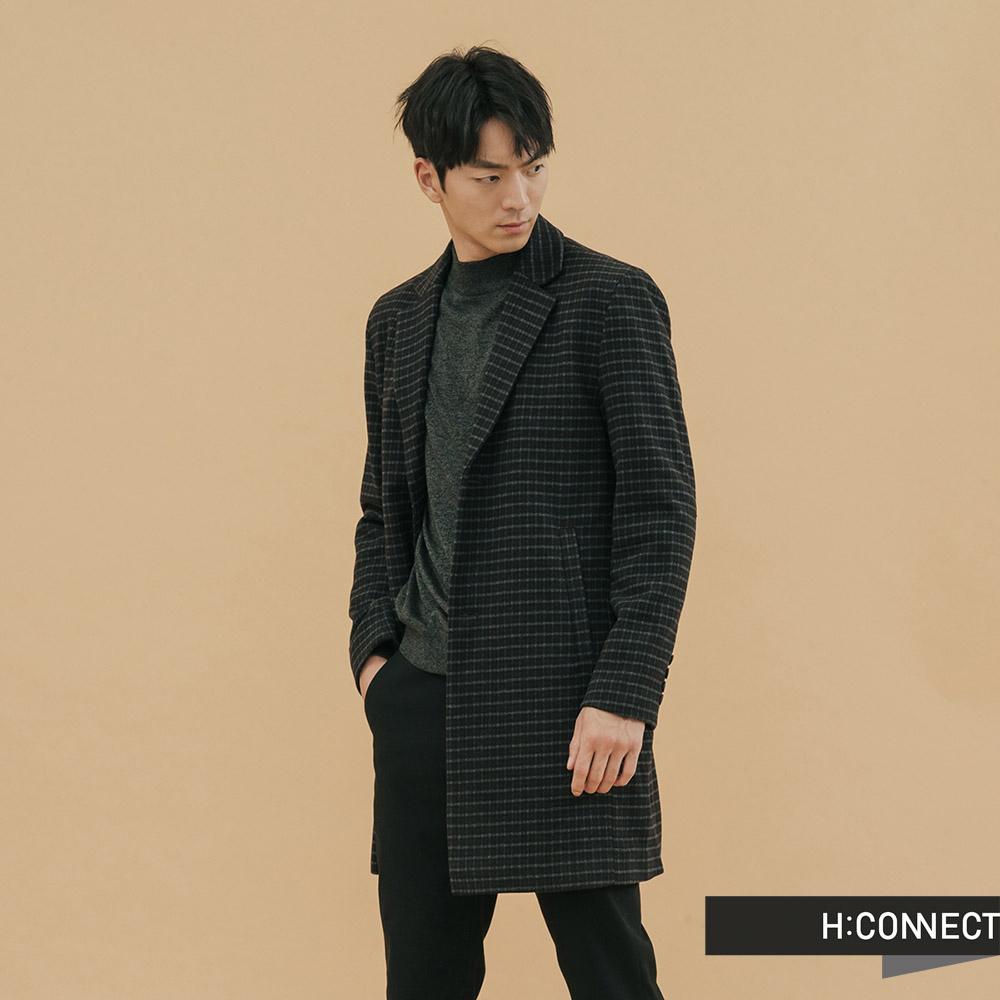H:CONNECT 韓國品牌 男裝-長板格紋羊毛大衣-灰