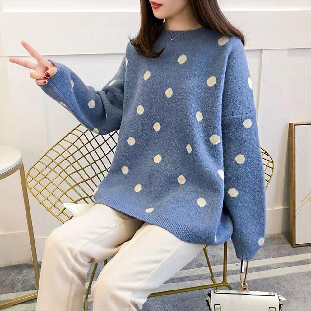 【白鵝buyer】韓版 可愛圓點點聖誕冬季毛衣(黃/粉/藍)