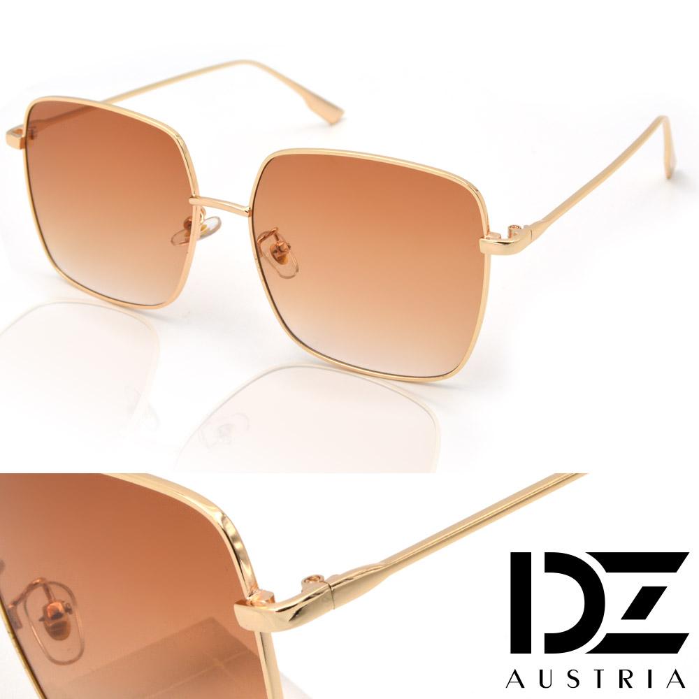 【2件59折】DZ 細線邊大方框型 抗UV防曬太陽眼鏡墨鏡(金框澄茶片)