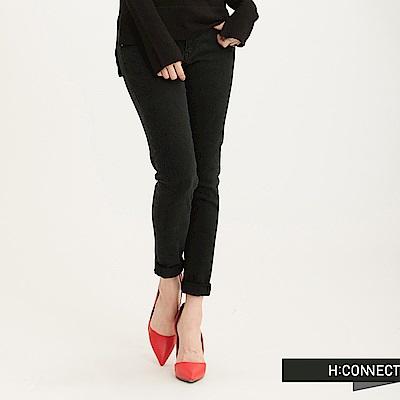 H:CONNECT韓國品牌女裝-SHARKEE純色素面窄管牛仔褲-黑(快)