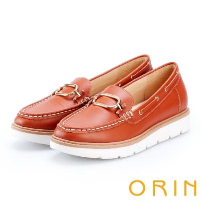 ORIN 復古樂活主義 簡約方扣牛皮厚底帆船鞋-橘色