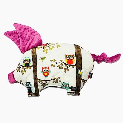 La Millou 豆豆小豬枕嬰兒枕-AnnaMucha設計師限量款(樹屋貓頭鷹)-沁甜莓果紅