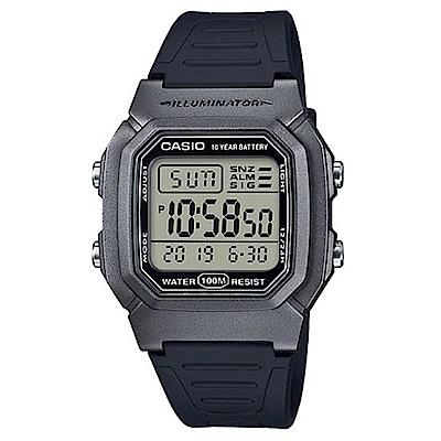 CASIO 10年電力清晰數位電子運動錶-銀灰框(W-800HM-7A)/35.7mm