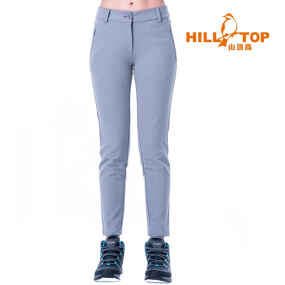 【hilltop山頂鳥】女款超潑水彈性保暖長褲H31FL0大理石灰