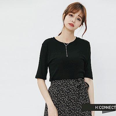 H:CONNECT 韓國品牌 女裝-合身純色圓領t-shirt-黑