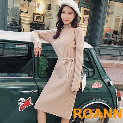 半高領純色坑條紋中長款針織洋裝 (共二色)-ROANN