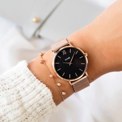 CLUSE Minuit 午夜系列腕錶 (玫瑰金框/黑錶面/玫瑰金不鏽鋼錶帶) 33mm