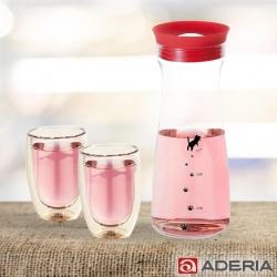 ADERIA 日本進口貓咪耐熱玻璃冷水瓶900ML(三色)附雙層玻璃杯200ML-2入