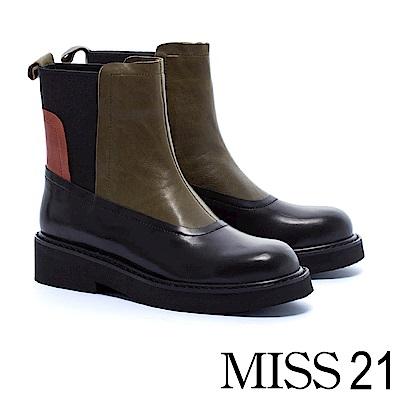 中筒靴 MISS 21 魅力個性異材質拼接牛皮厚底中筒靴-黑
