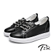 T2R-正韓空運-水鑽真皮帆布鞋小白鞋隱形增高鞋-增高6公分-黑 product thumbnail 1