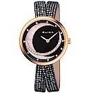 ELIXA  Finesse系列晶鑽星月玫瑰金錶盤/黑皮革纏繞式錶帶32.5mm