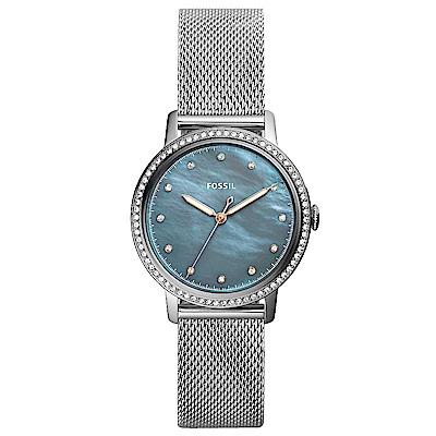 FOSSIL Neely晶鑽風尚米蘭帶手錶(ES4313)-珍珠貝X銀/34mm