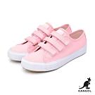 【KANGOL】魔鬼氈厚底帆布鞋-女-粉