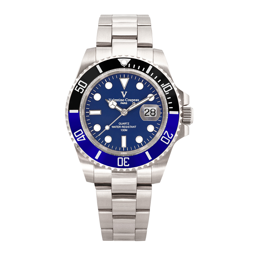 Valentino Coupeau 范倫鐵諾 古柏 雙色陶瓷水鬼腕錶 (銀色/藍面/鋼帶)