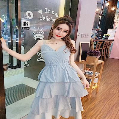 DABI 韓國風名媛時尚細肩帶層層蛋糕無袖洋裝