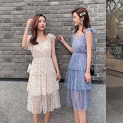 DABI 韓系收腰波點甜美娃娃領蛋糕裙無袖洋裝
