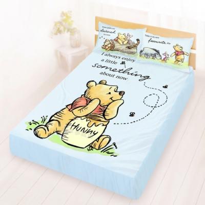 享夢城堡 雙人床包枕套5x6.2三件組-迪士尼小熊維尼Pooh 蜂蜜小事-米黃.藍
