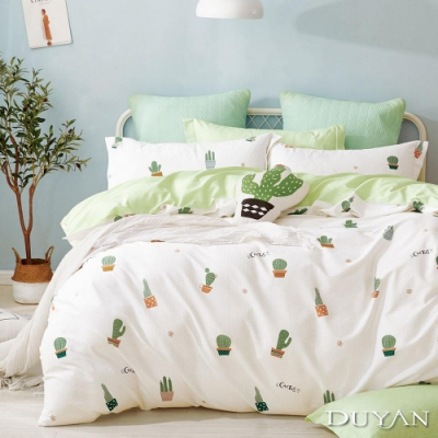 DUYAN竹漾 100%精梳純棉 雙人加大四件式舖棉兩用被床包組-刺刺郎 台灣製