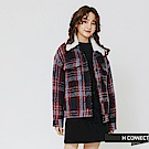H:CONNECT 韓國品牌 女裝-毛呢格紋翻領外套-紅
