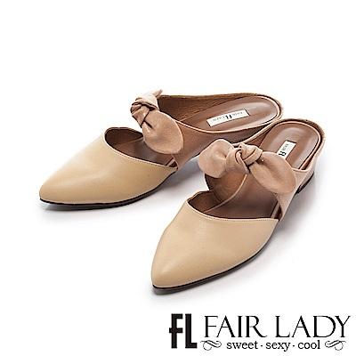 Fair Lady 有一種喜歡是早秋-俏麗蝴蝶結撞色粗跟鞋 黃