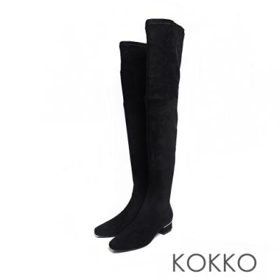 KOKKO - 火辣女神激瘦超長筒過膝靴 - 絨黑