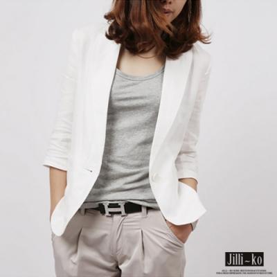 JILLI-KO 簡約剪裁西裝外套- 白色