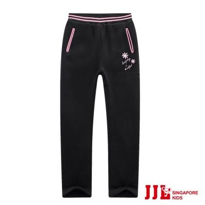 JJLKIDS 小花刺繡彈力加厚運動休閒棉長褲(黑色)