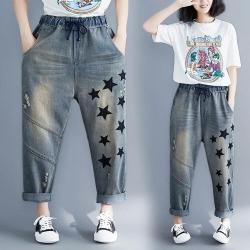 潮流舒適時尚星星鬆緊帶捲邊牛仔褲L-2XL-Keer