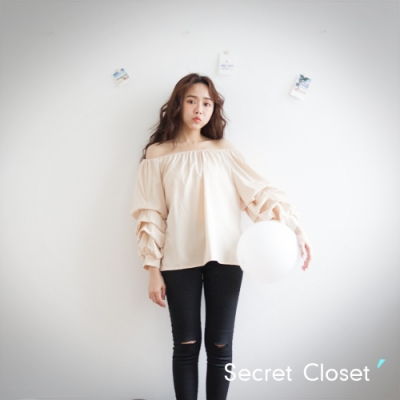 Secret Closet-兩穿雪紡紗澎袖上衣-杏色