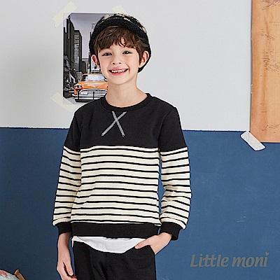 Little moni 圓領拼接上衣 (2色可選)