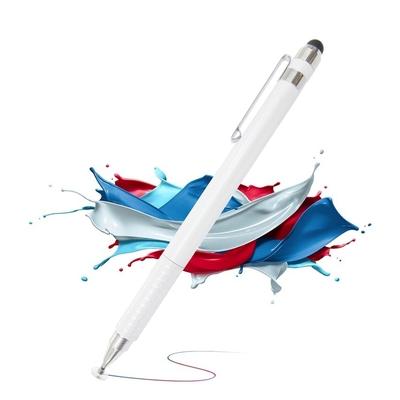 DW DP42時尚白 筆夾款雙頭電容精細觸控筆(2入組)