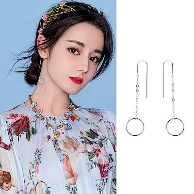 梨花HaNA 韓國925銀簡約鏤空光圈耳線耳環