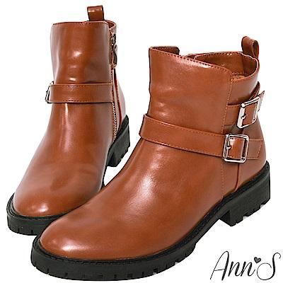 Ann'S中性印象-銀扣雙帶超短筒機車靴-棕