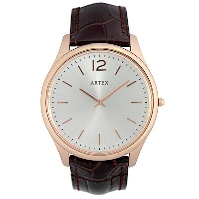 ARTEX5605真皮手錶-褐/玫瑰金43mm