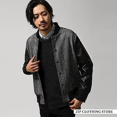 羊毛拼接棒球外套(7色) ZIP日本男裝