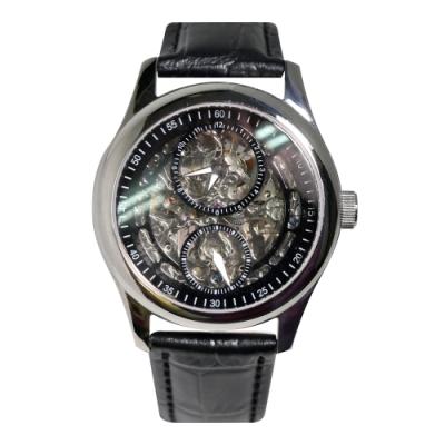 HYUN炫 鏤空雙眼設計皮革錶-黑