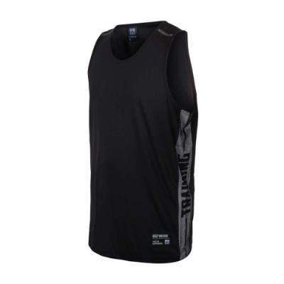 FIRESTAR 男吸排訓練籃球背心-運動 慢跑 路跑 無袖上衣 反光 B1709-10 黑灰
