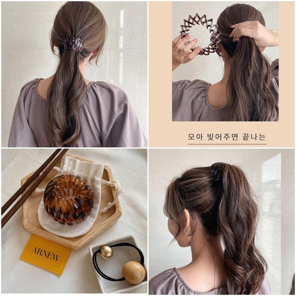 梨花HaNA 新款!韓國瞬間唯美造型.馬尾包包頭專用鳥巢髮夾