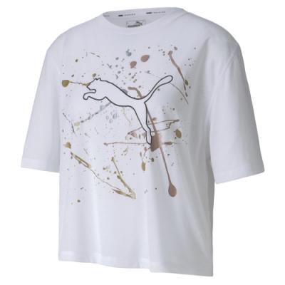 PUMA-女性訓練系列Metal Splash寬版短袖T恤-白色-歐規