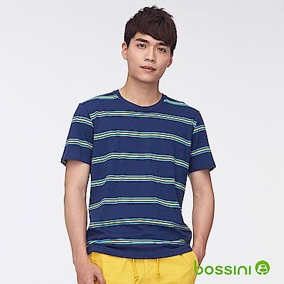 bossini男裝-圓領短袖條紋上衣海軍藍
