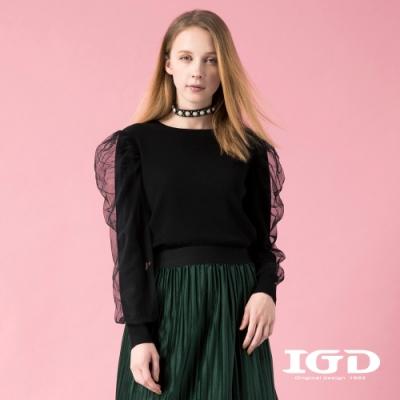 【IGD 英格麗】網紗澎袖羊毛針織上衣-黑