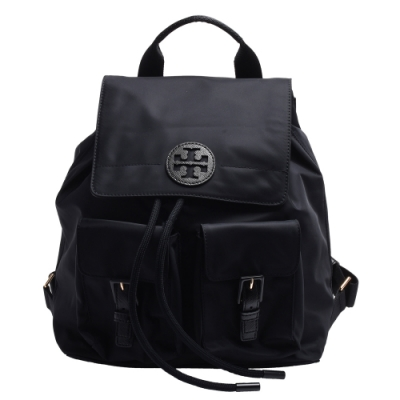 TORY BURCH QUINN系列品牌LOGO尼龍後背包(黑色)