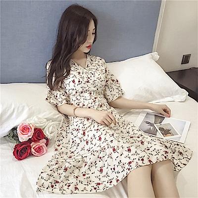 DABI 韓國風氣直小清新喇叭袖碎花雪紡短袖洋裝