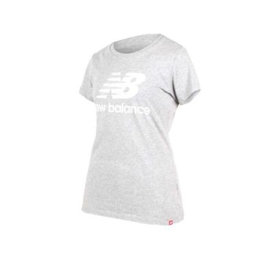 NEW BALANCE女短袖T恤-NB 短T 路跑 慢跑 灰白
