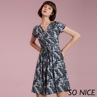 SO NICE優雅刺繡綁結條紋洋裝