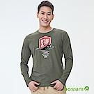 bossini男裝-印花長袖T恤03橄欖灰