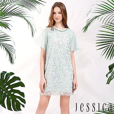 JESSICA - 雪紡刺繡透膚設計修身洋裝(淡藍)
