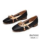 達芙妮DAPHNE 低跟鞋-優雅珠飾交叉繫帶瑪莉珍低跟鞋- 黑色