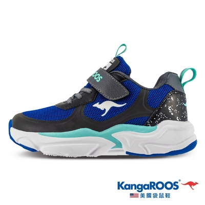 KangaROOS 童鞋 CASPO 科技 輕盈透氣 幻彩反光 運動鞋(藍-KK11886)